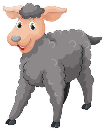 Gray sheep with happy face illustration.