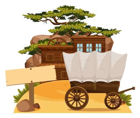western town: Wooden sign and wertern scene illustration.