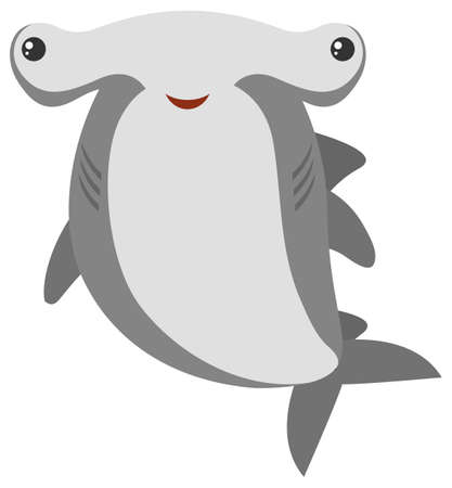 Hammerhead shark with happy face illustration.