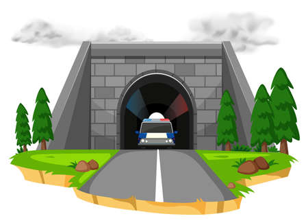 cavern: Police car in the tunnel illustration.