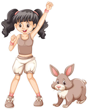 girl in nature: Cute girl and little bunny illustration.