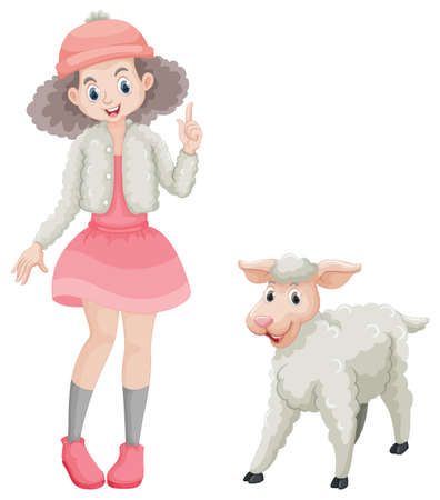 Cute girl and little lamb illustration. Illustration