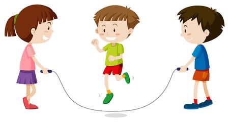 Three kids jumping rope illustration Illustration