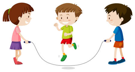 Three kids jumping rope illustration Illustration