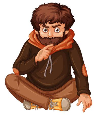 Man with brown beard illustration. Illustration