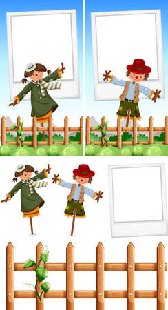 Photo frame template with scarecrows  illustration Çizim