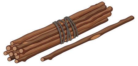 Single stick and bunch of sticks illustration Иллюстрация