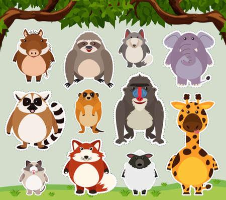 oso perezoso: Sticker design for wild creature in the field illustration. Vectores