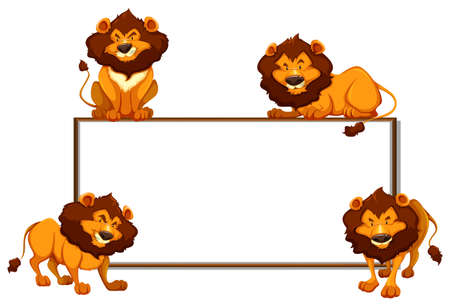 Border template with four lions illustration