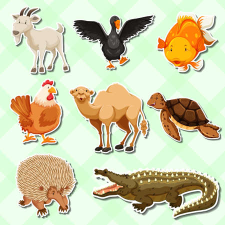 Sticker design with many creature illustration