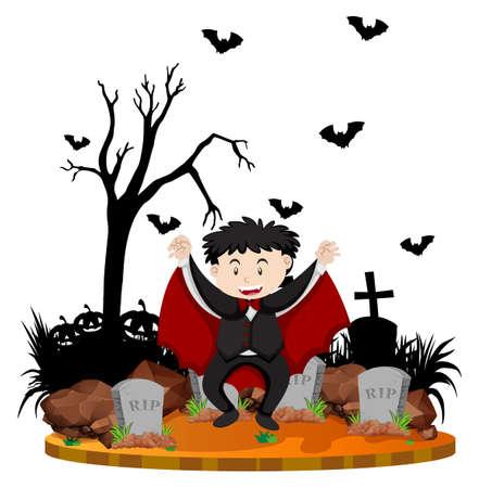 Graveyard scene with vampire and bats illustration
