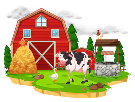 Scene with farm animals on the farm illustration Illustration