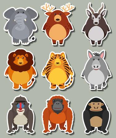 template: Sticker design with many wild animals illustration