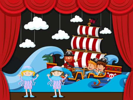 Children acting on stage illustration Illustration