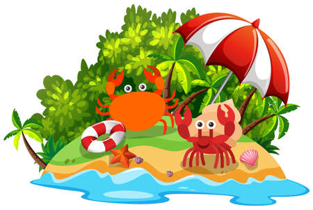 Two crabs on the island illustration