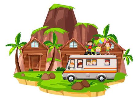 Children riding on camper van illustration