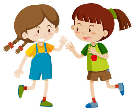 Two happy girls playing illustration Illustration