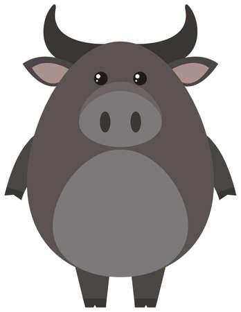 Gray buffalo on white background illustration Illustration