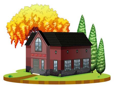 Brickhouse and willow tree on the park illustration Illustration