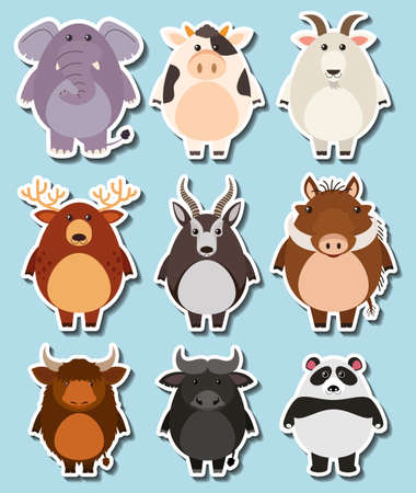 drawings image: Sticker set with many wildlife on blue background illustration.