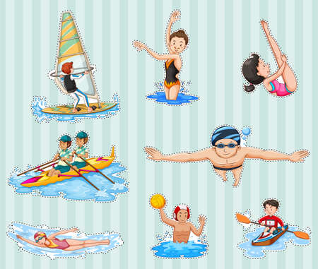 Sticker set met atleten doen sport illustratie.