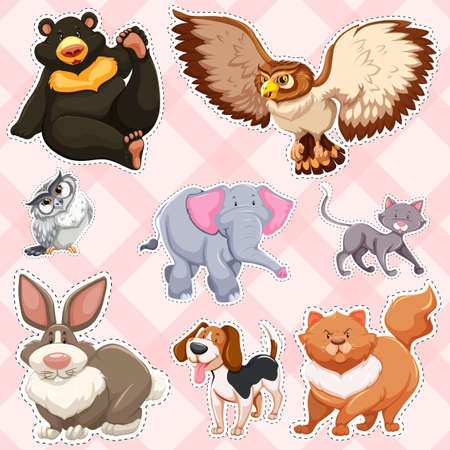 drawings image: Sticker design for wild animals on pink background illustration. Illustration