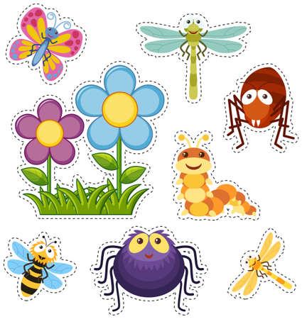 Sticker set with flowers and bugs illustration. Иллюстрация