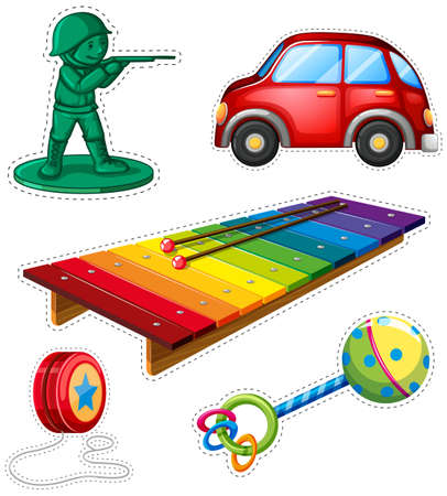 Sticker set with different toys illustration.