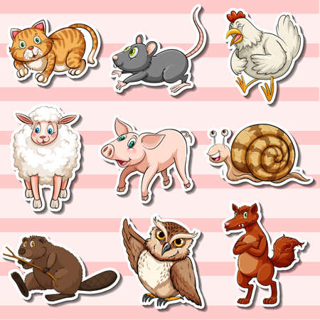 owl illustration: Sticker set with cute animals on pink illustration.