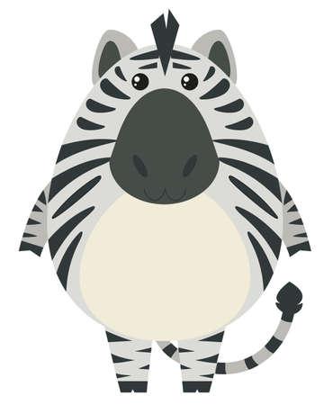 Zebra with round body illustration. Illustration