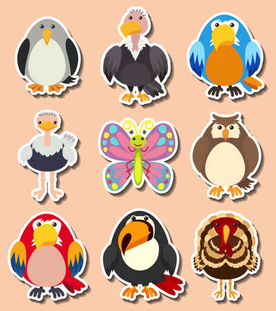 macaw: Sticker design with different kinds of birds illustration