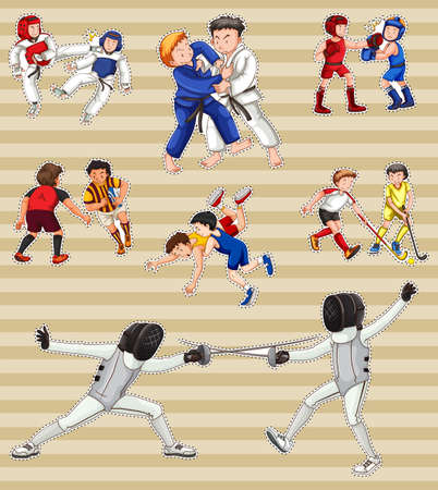 drawings image: Sticker set with people playing sports illustration