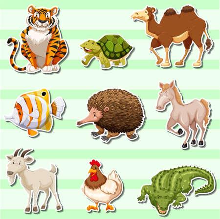 template: Sticker set with wild animals illustration