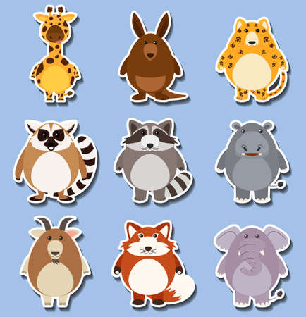 Sticker set with many animals on blue illustration