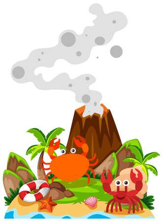 Crabs and volcano on island illustration
