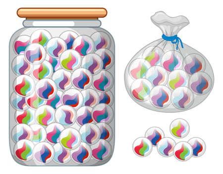 Marbles in glass jar and bag illustration Illustration