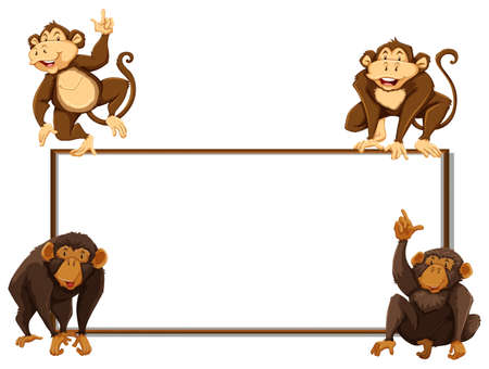 layout: Border template with four monkeys illustration Illustration