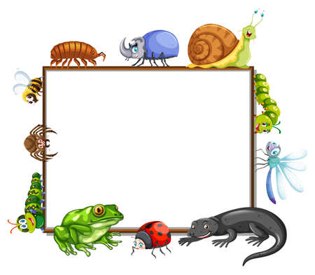 Border template with many insects illustration Illustration