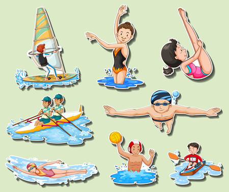 Sticker set with men and women doing sports illustration