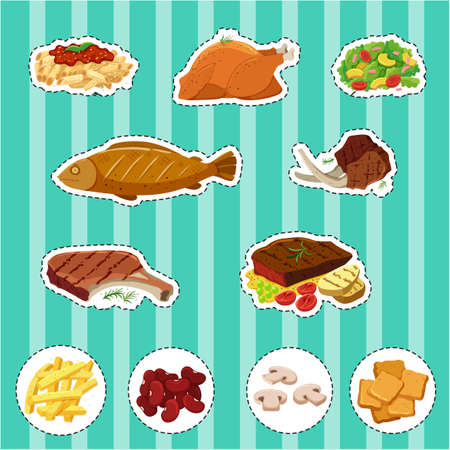 drawings image: Sticker set with different types of food illustration