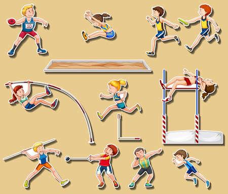 Diseño de etiqueta para ilustración de deportes de pista y campo Foto de archivo - 85814392