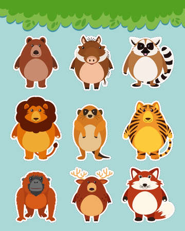 Sticker set with cute animals on blue background illustration