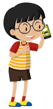 communication cartoon: Little boy talking on cell phone illustration Illustration