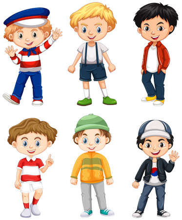 six objects: Six boys in different costume illustration Illustration