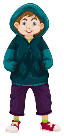 drawings image: Boy in green sweater illustration Illustration