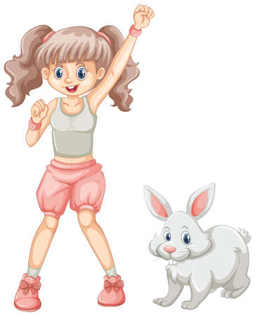 lapin: Cute girl and white rabbit illustration