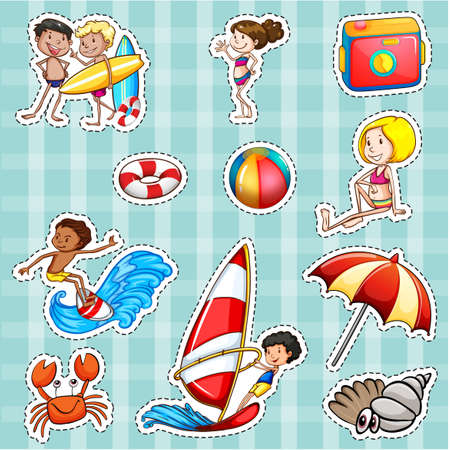 layout: Sticker design for tourists at sea illustration Illustration