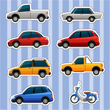 drawings image: Sticker design for different kinds of vehicles illustration