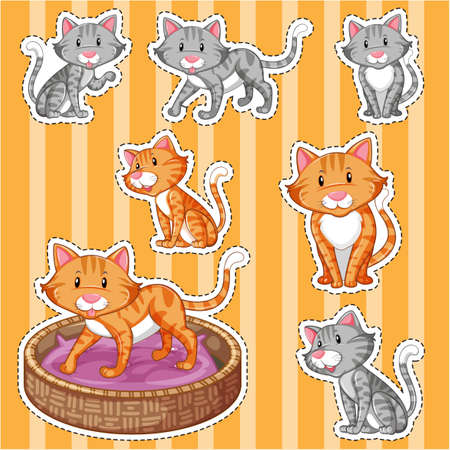 gray cat: Sticker set with cute cats on yellow background illustration Illustration