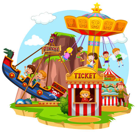 drawings image: Happy children riding in funpark illustration